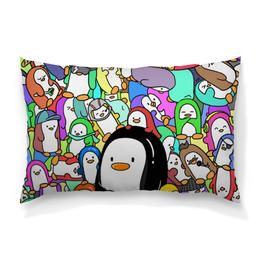"""Подушка 60х40 с полной запечаткой """"Пингвины"""" - пингвины, стиль, рисунок"""