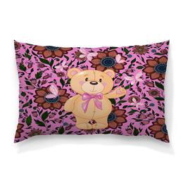 """Подушка 60х40 с полной запечаткой """"Мишка и бабочки"""" - бабочки, цветы, медведь, мишка"""