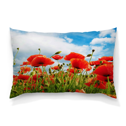 """Подушка 60х40 с полной запечаткой """"Поле маков"""" - цветы, весна, природа, мак, поле"""