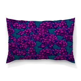 """Подушка 60х40 с полной запечаткой """"виноград"""" - ягоды, природа, фиолетовый, плоды, листья"""