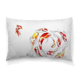 """Подушка 60х40 с полной запечаткой """"Golden Fish"""" - акварель, japan, японская живопись"""