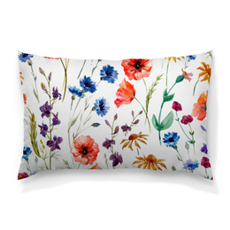 """Подушка 60х40 с полной запечаткой """"Полевые цветы"""" - цветы, природа, полевые цветы"""