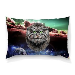 """Подушка 60х40 с полной запечаткой """"Кот в космосе"""" - кот, звезды, котенок, космос, коты в космосе"""