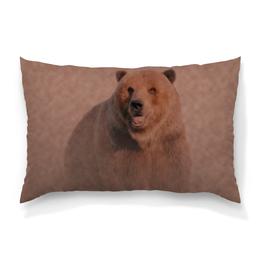 """Подушка 60х40 с полной запечаткой """"Медведь"""" - медведь, рисунок, животное, коричневый, бурый"""