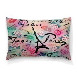 """Подушка 60х40 с полной запечаткой """"Париж"""" - париж, города, paris, цветы, я люблю"""