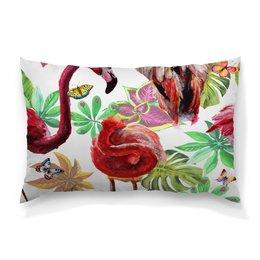 "Подушка 60х40 с полной запечаткой ""Птица"" - лето, птицы, природа, тропики, фламинго"