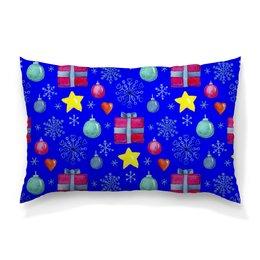 """Подушка 60х40 с полной запечаткой """"новый год"""" - новый год, звезды, зима, игрушки, подарки"""