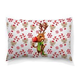 """Подушка 60х40 с полной запечаткой """"новый год"""" - новый год, зима, подарки, снежинки, олень"""
