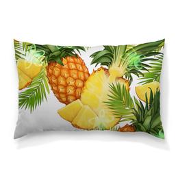 """Подушка 60х40 с полной запечаткой """"Ананасы"""" - фрукты, рисунок, тропики, ананасы"""