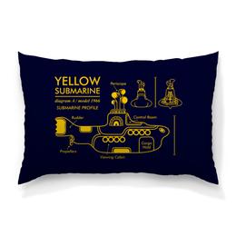 "Подушка 60х40 с полной запечаткой ""Yellow Submarine"" - the beatles, yellow submarine, чертёж, жёлтая подводная лодка, жёлтая субмаритна"
