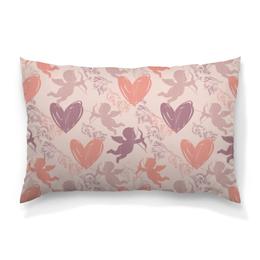 """Подушка 60х40 с полной запечаткой """"Купидон и сердечки"""" - любовь, день святого валентина, сердечки, купидон, день влюблённых"""