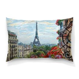 "Подушка 60х40 с полной запечаткой ""Эйфелева башня"" - графика, франция, париж, эйфелева башня"