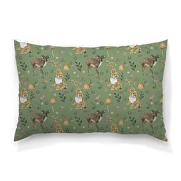 """Подушка 60х40 с полной запечаткой """"Лесные жители"""" - цветы, природа, олененок, бохо, перья"""