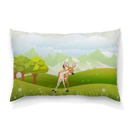 """Подушка 60х40 с полной запечаткой """"Оленёнок"""" - животные, оленёнок, природа, олень, луг"""