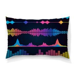 """Подушка 60х40 с полной запечаткой """"Звуковая волна"""" - музыка, music, плеер, мелодия, звуковая волна"""