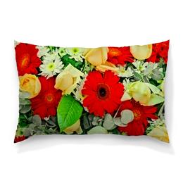 """Подушка 60х40 с полной запечаткой """"Букет цветов"""" - цветы, цветочки, весна, узор, природа"""