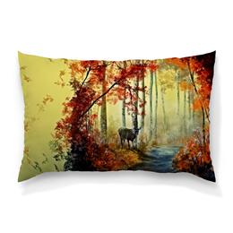 """Подушка 60х40 с полной запечаткой """"Осенняя роща"""" - пейзаж, лес, природа, животные, деревья"""