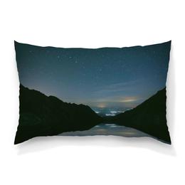 """Подушка 60х40 с полной запечаткой """"Вечерний пейзаж"""" - звезды, природа, горы, вода, берег"""