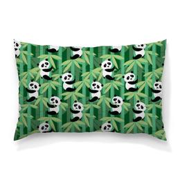 """Подушка 60х40 с полной запечаткой """"Жизнь панд"""" - узор, животные, панда, лес, бамбук"""