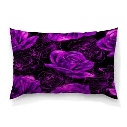 """Подушка 60х40 с полной запечаткой """"Розы в цвету"""" - цветы, фиолетовый, весна, цветочки, розы"""