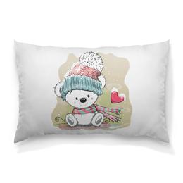 """Подушка 60х40 с полной запечаткой """"Медвежонок"""" - юмор, зима, рисунок, мультяшка, медвежонок"""