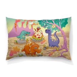 """Подушка 60х40 с полной запечаткой """"Забавные динозаврики"""" - животные, природа, динозавры, вулкан"""