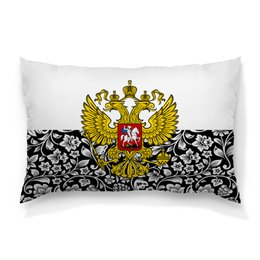 """Подушка 60х40 с полной запечаткой """"Цветы и герб"""" - цветы, россия, герб, орел, хохлома"""