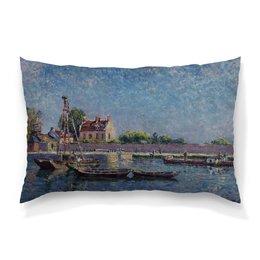 """Подушка 60х40 с полной запечаткой """"Замок Сан-Мамес (Альфред Сислей)"""" - картина, живопись, сислей"""