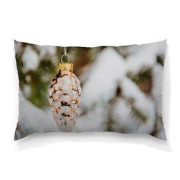 """Подушка 60х40 с полной запечаткой """"Новый год"""" - праздник, новый год, снег на ветках, елочные шары"""