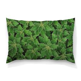 """Подушка 60х40 с полной запечаткой """"Зеленые листья"""" - цветы, лист, зеленый, куст"""