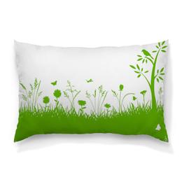 """Подушка 60х40 с полной запечаткой """"Летняя трава"""" - бабочки, лето, цветы, трава, стрекозы"""