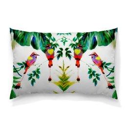 """Подушка 60х40 с полной запечаткой """"попугаи"""" - цветы, листья, яркий, попугаи, тропики"""