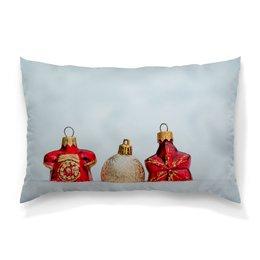 """Подушка 60х40 с полной запечаткой """"Новый год"""" - новый год, снег, золотой, елочные игрушки"""