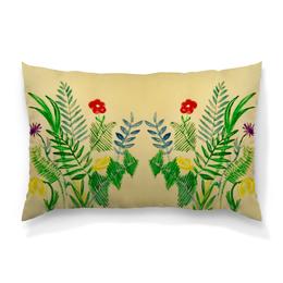 """Подушка 60х40 с полной запечаткой """"Растения"""" - цветы, листья, растения"""