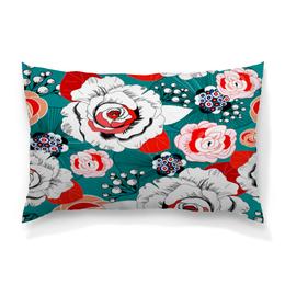 """Подушка 60х40 с полной запечаткой """"Fashion Flower"""" - цветы, flower, природа, красные, розы"""