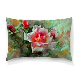 """Подушка 60х40 с полной запечаткой """"Цветущие розы"""" - цветы, весна, цветочки, розы, букет"""