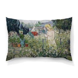 "Подушка 60х40 с полной запечаткой ""Маргарита Гаше в саду (Винсент Ван Гог)"" - картина, ван гог, живопись"