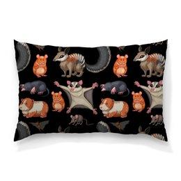 """Подушка 60х40 с полной запечаткой """"Дикие животные"""" - мышь, крыса, животное, хомяк, летучая мышь"""