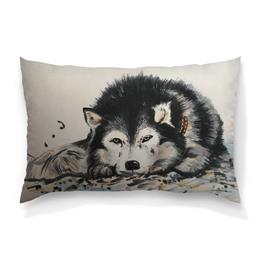"""Подушка 60х40 с полной запечаткой """"Грустный хась"""" - животные, рисунок, собака, иллюстрация, хаски"""