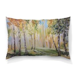"""Подушка 60х40 с полной запечаткой """"Осенний лес"""" - листья, рисунок, осень, лес, небо"""