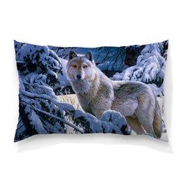 """Подушка 60х40 с полной запечаткой """"БЕЛЫЙ ВОЛК"""" - стиль, снег, лес, красота, волк"""