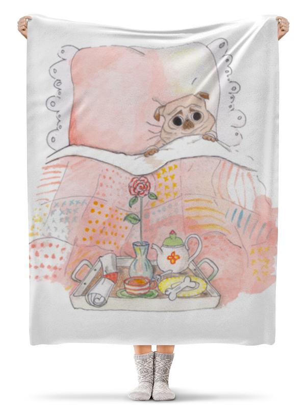 Плед флисовый 130х170 см Printio Мопс в кровате wellber стельное белье для детской кровати 145x100cm