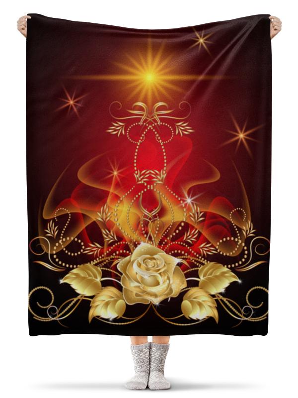 Фото - Плед флисовый 130х170 см Printio Золотая роза сумка на молнии маленький принц розы на красном фоне 37 38см