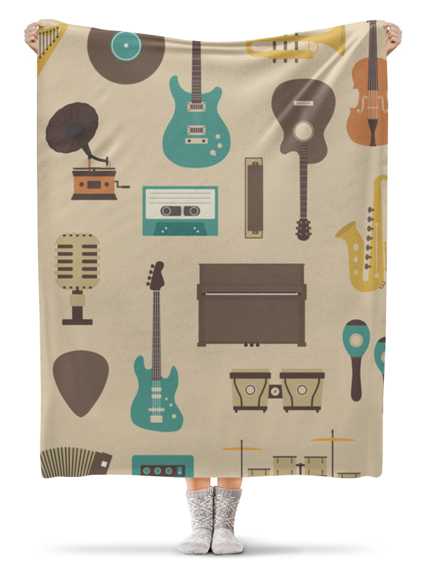 Фото - Плед флисовый 130х170 см Printio Музыкальные инструменты инструменты