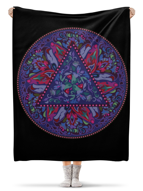 Плед флисовый 130х170 см Printio Мандала, фиолетовый круговой орнамент серьги nikolskaya серьги