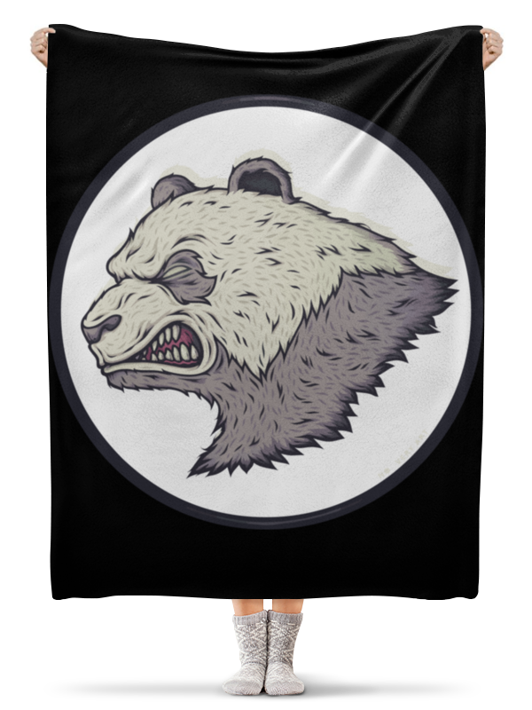 Плед флисовый 130х170 см Printio Angry panda / злая панда подушки для малыша candide подушка анатомическая панда brownish grey panda pillow 21x19 см