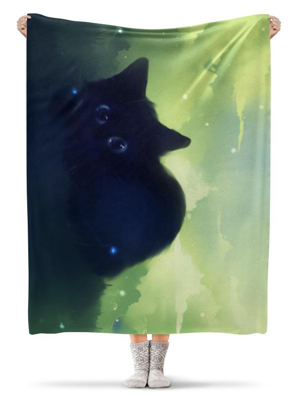 Плед флисовый 130х170 см Printio Черный котик