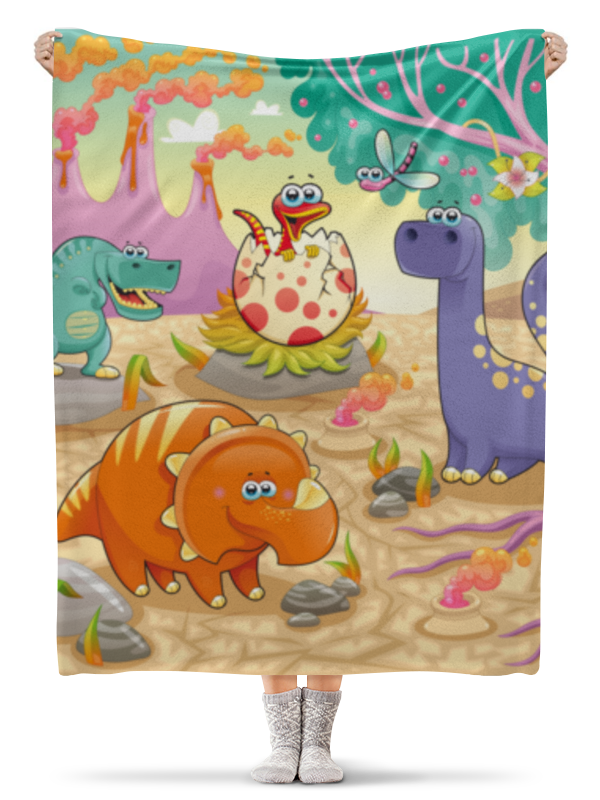 Плед флисовый 130х170 см Printio Забавные динозаврики