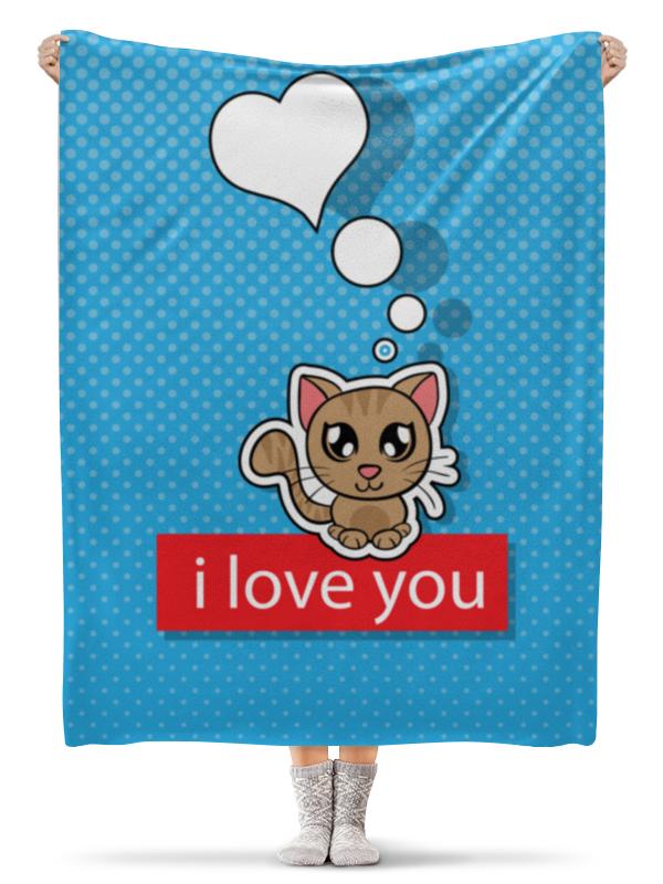 Плед флисовый 130х170 см Printio Влюблённый котик