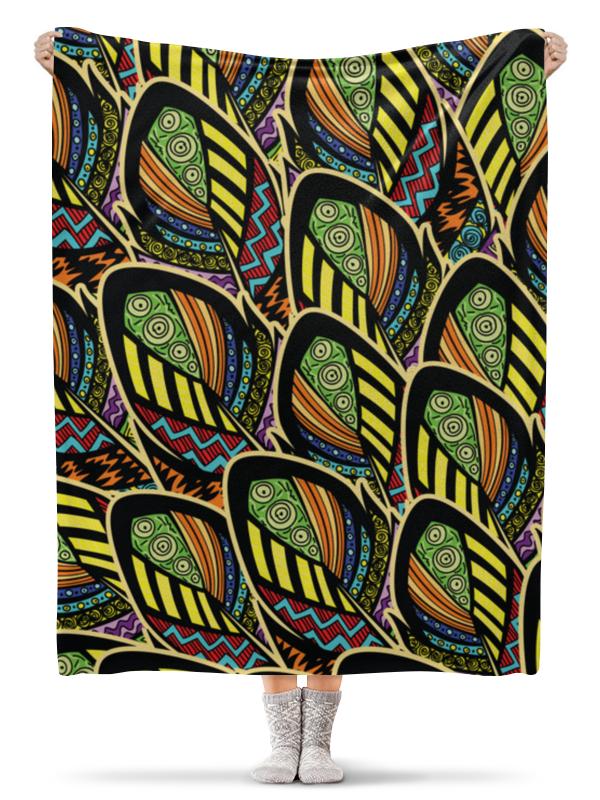 Плед флисовый 130х170 см Printio Перья бохо плед флисовый 130х170 см printio разноцветные перья